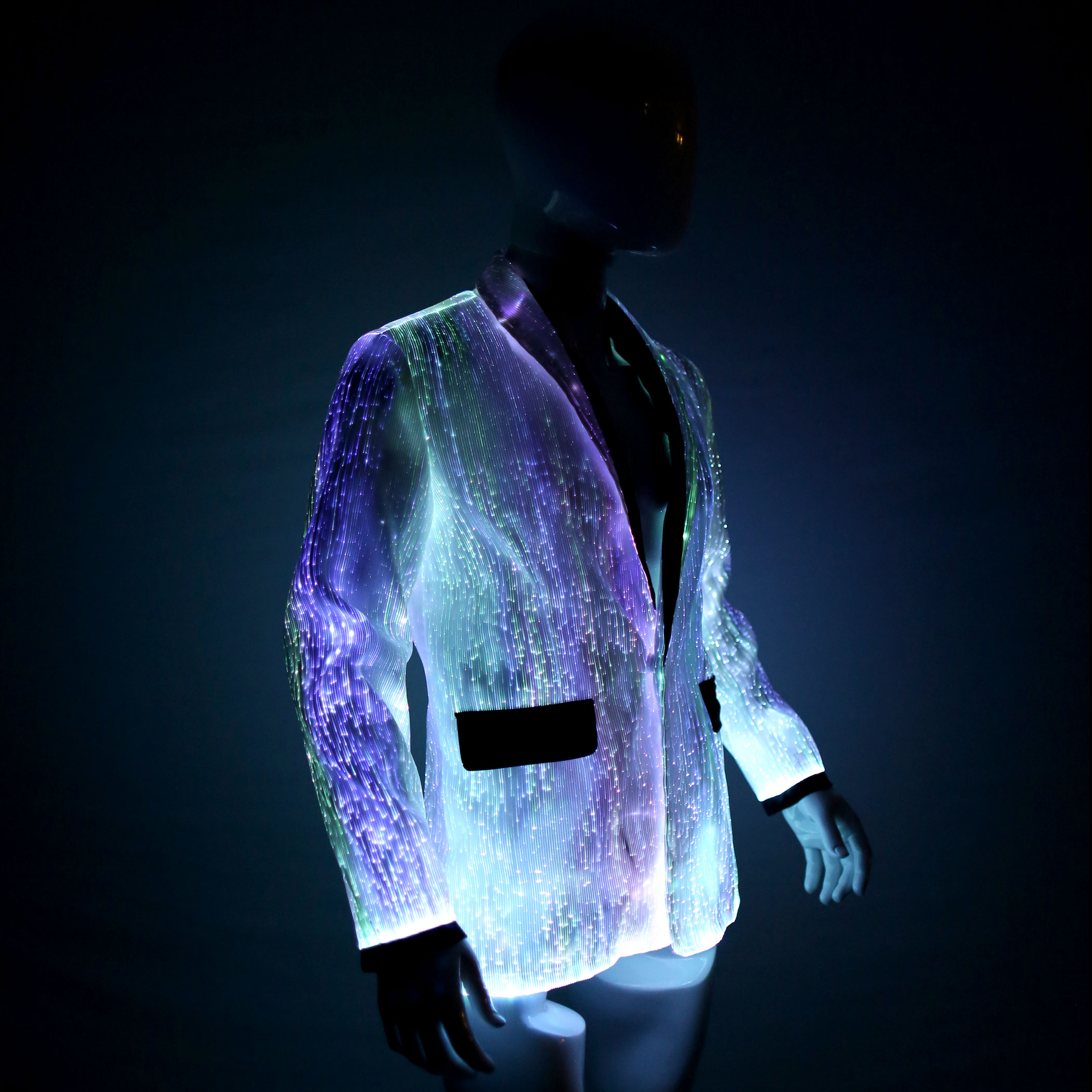 LED Jacket For MEN, Platinum Glow In Dark Fiber Optic Jacket