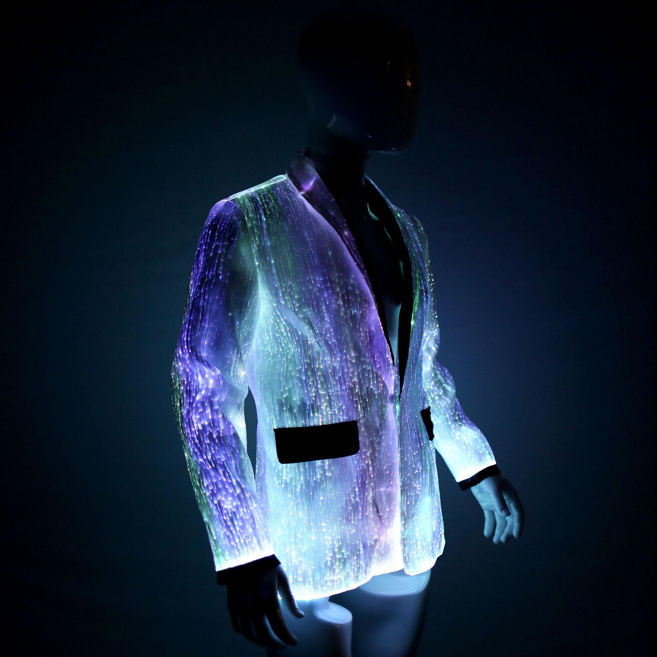 Unique Small Home Designs Led Jacket For Men Platinum Glow In Dark Fiber Optic