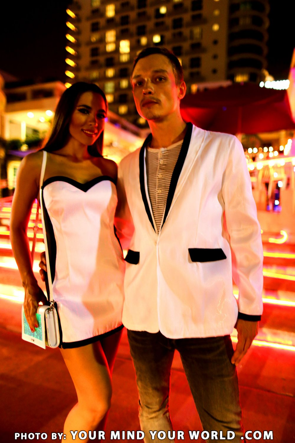 sexy party glowing white corset dress and white men glowing jacket