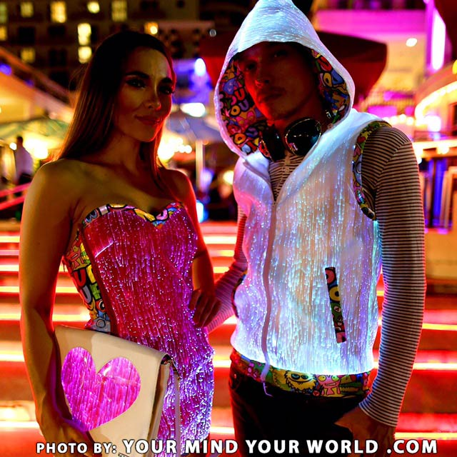 Fiber optic light up hoodie and fiber optic dress