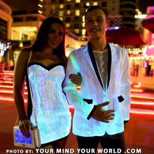 fiber optic jacket and fiber optic dress
