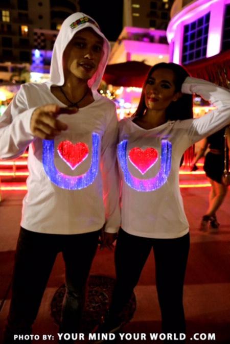 Light up fiber optic sweatshirts