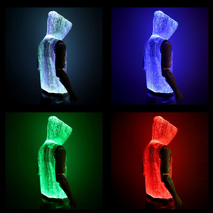 Light up fiber optic cool hoodies
