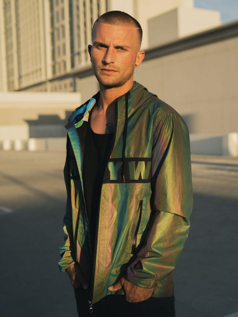 rainbow reflective xeno jacket for men