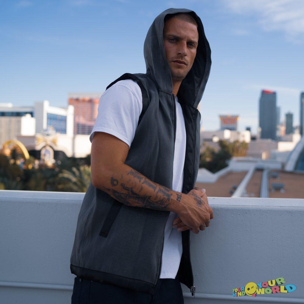 black fiber optic hoodie
