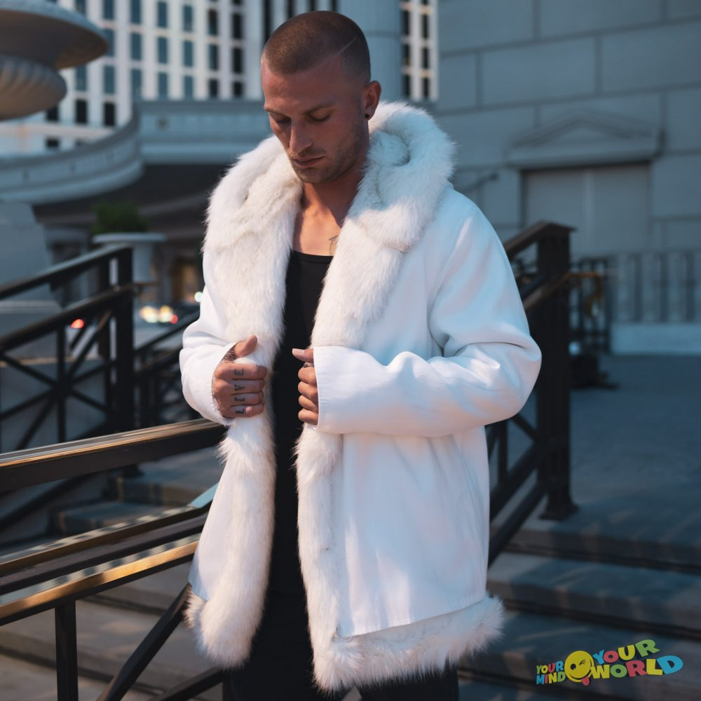 fiber optic faux fur coat for men