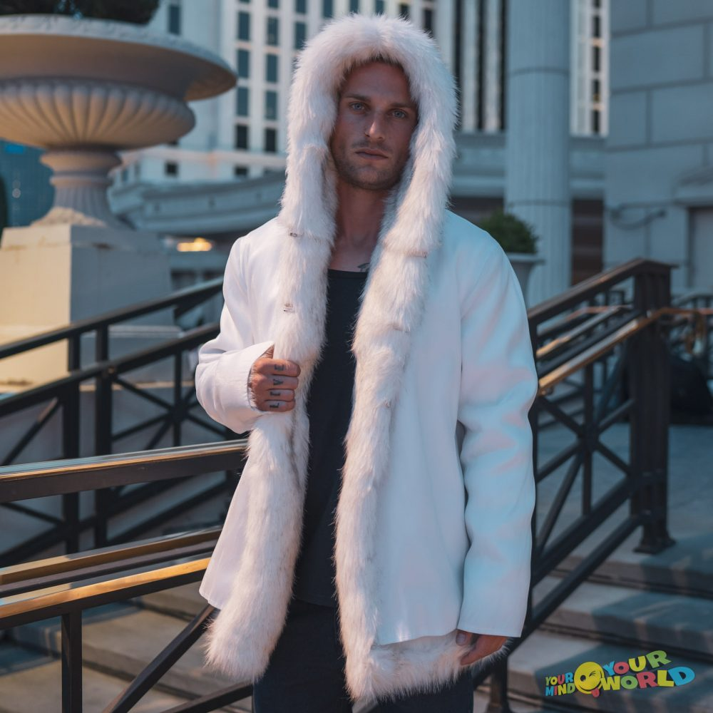 vip fiber optic faux fur coat for men