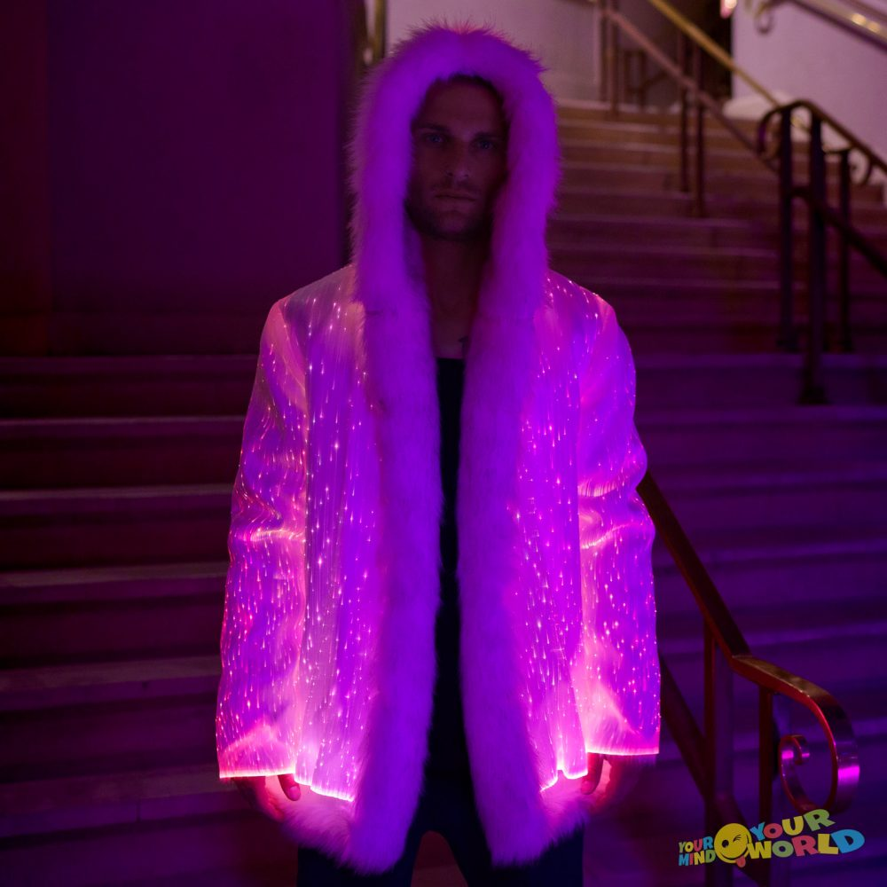 light up fur jacket for man
