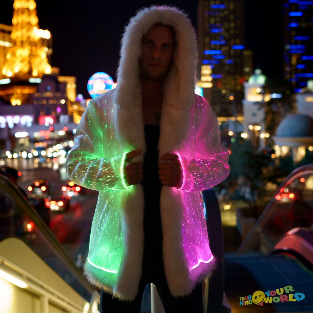 light up fur coat for man