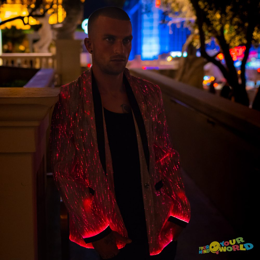 Black Jacket Fiber Optic Fabric for men