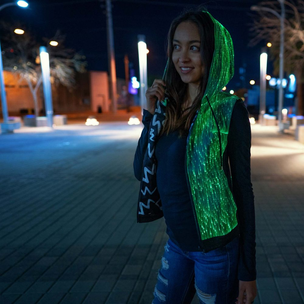 fiber optic hoodie for girls