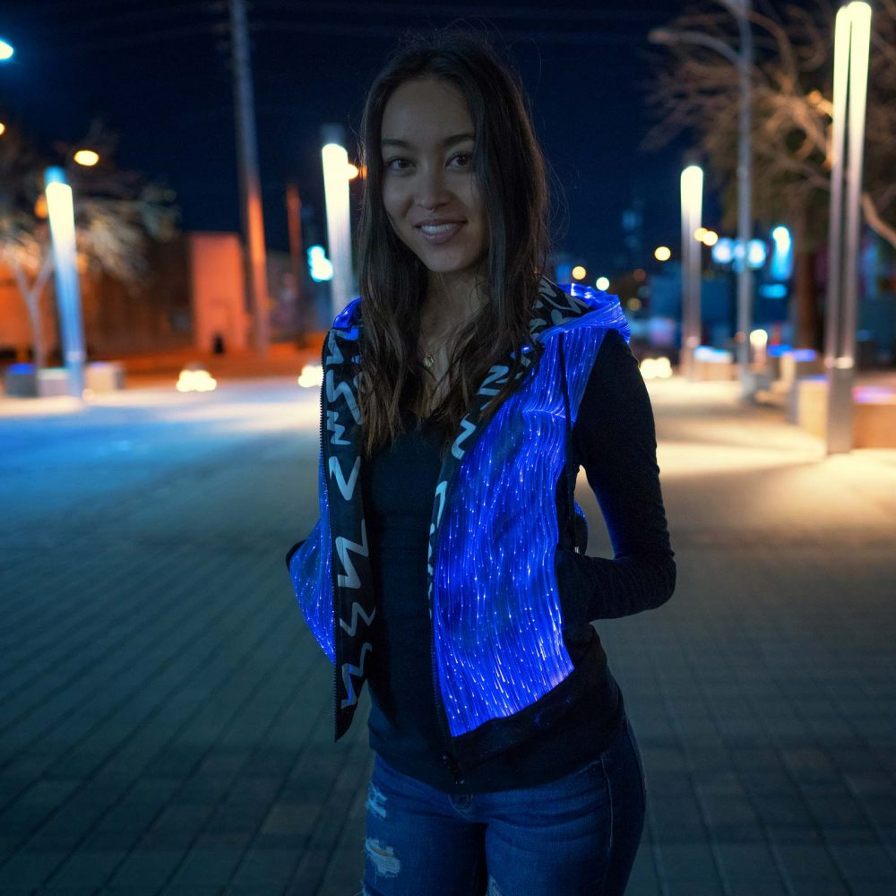 fiber optic hoodie for women