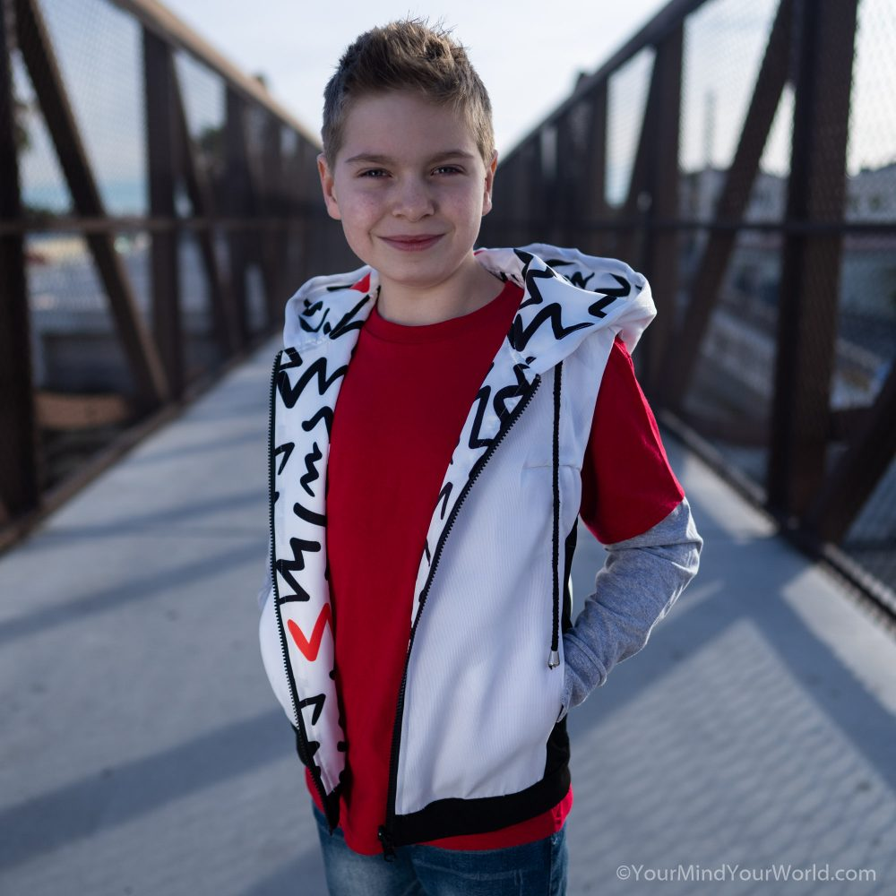 messy mind hoodie for kids and teens white