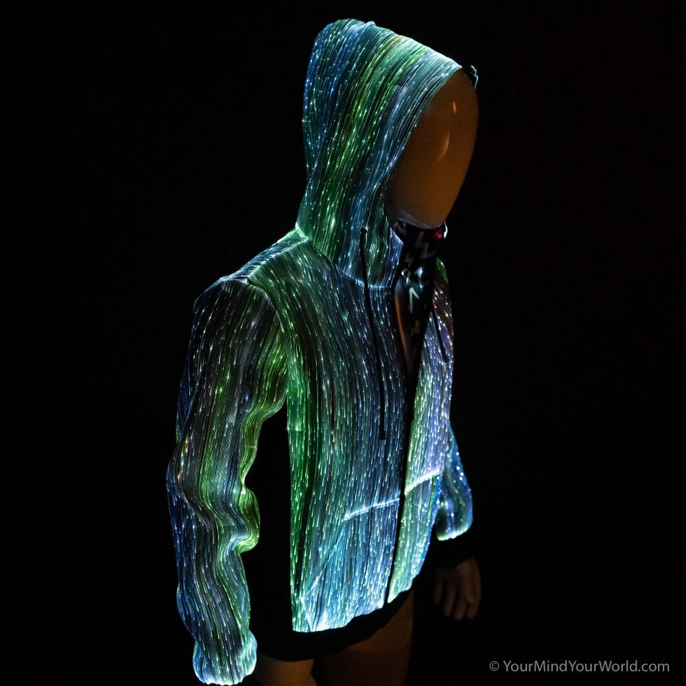 led fiber optic long sleeve hoodie for men