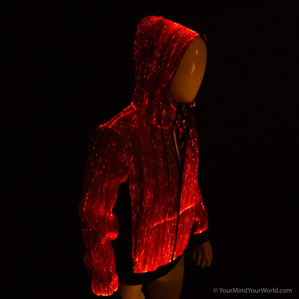 light up fiber optic long sleeve hoodie for men